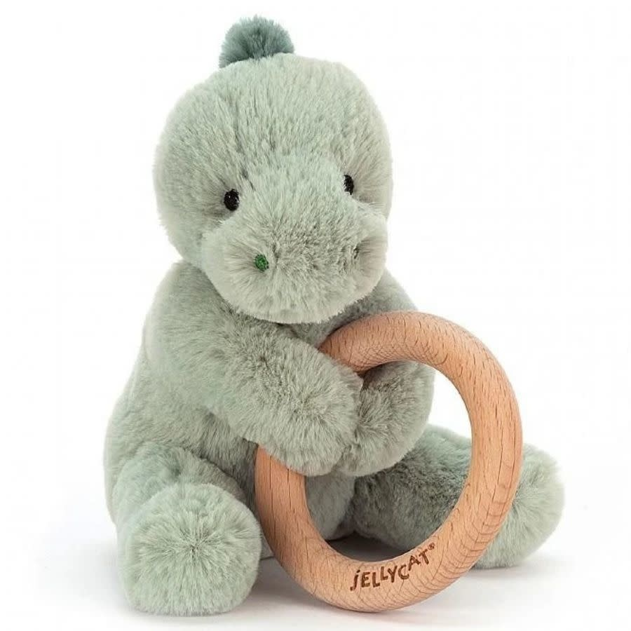 Puffles Dino Wooden Ring Rattle by Jellycat