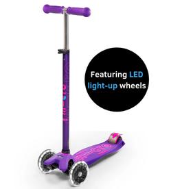 Maxi Deluxe Scooter in Purple w/ LED Wheels by Micro Kickboard