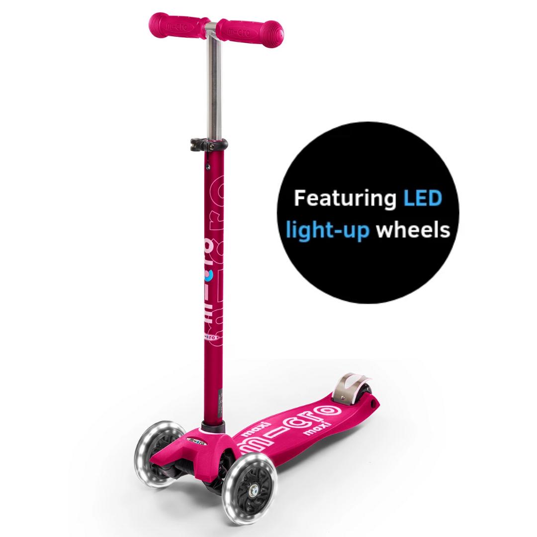 Maxi Deluxe in Pink w/ LED Wheels by Micro Kickboard