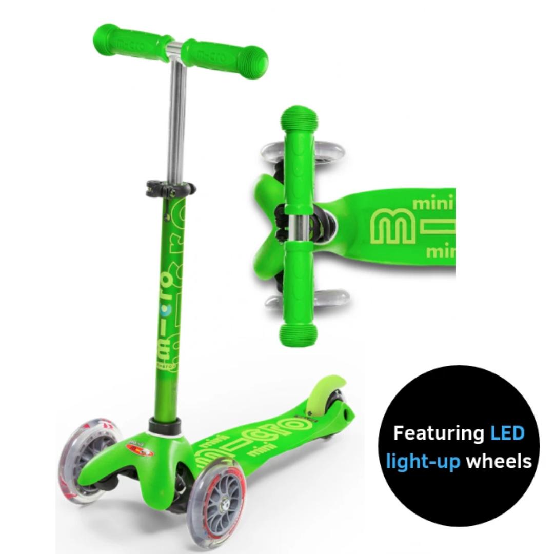 Mini Deluxe Scooter Green w/ LED Wheels by Micro Kickboard