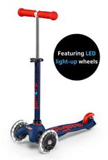 Mini Deluxe Scooter Navy Blue w/ LED Wheels by Micro Kickboard