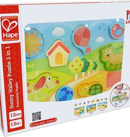Sunny Valley 3 in 1 Puzzle by Hape