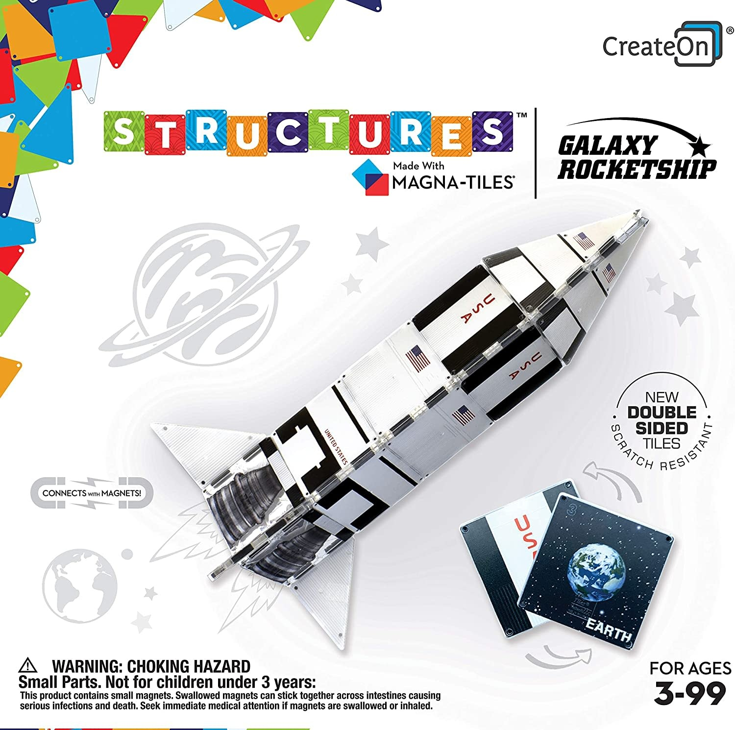 Create On CreateOn Galaxy Rocketship by Magna-Tiles Structures