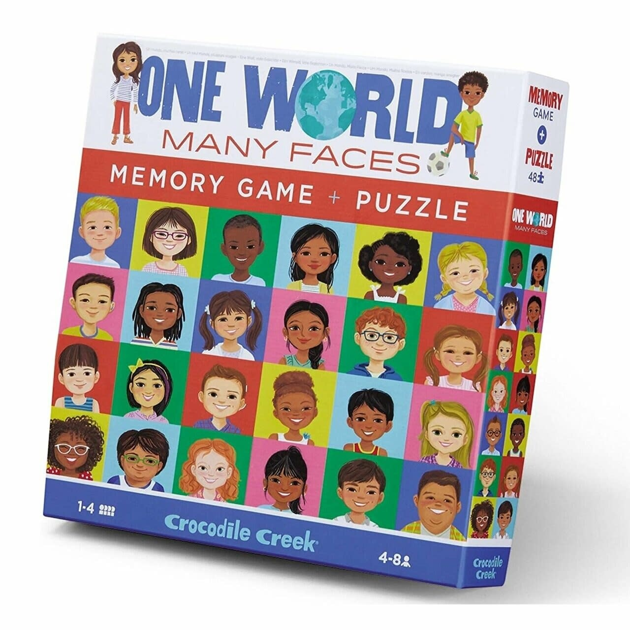 One World Many Faces 48-pc Puzzle & Memory Game