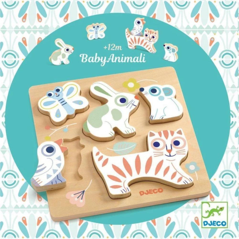 BabyAnimali 5-pc Wooden Puzzle by Djeco