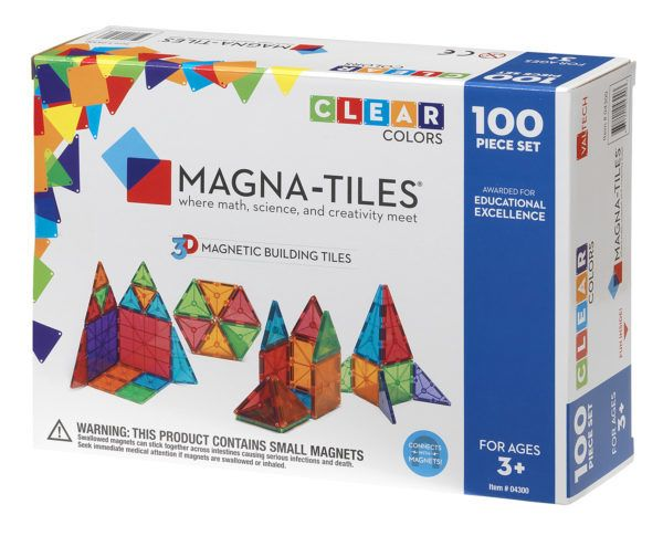 Magna-Tiles Clear Colors 100-pc Set