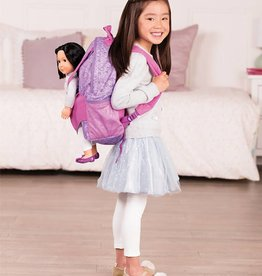 Our Generation Sac à dos porte-poupée Hop On Carrier - Coeurs mauves pour OG