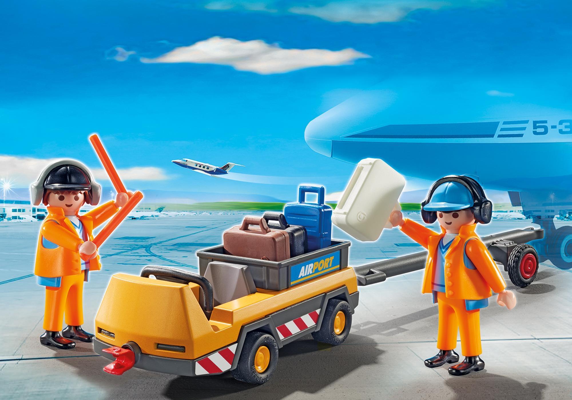 Playmobil Agents avec tracteur à bagages