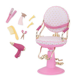 Our Generation Chaise de coiffeur Sitting Pretty pour poupée de 46 cm - Rose
