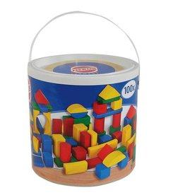 Seau  de blocs bois colorés