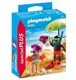 Playmobil Figurines d'enfants et chateau de sable