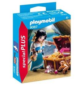 Playmobil Figurine de flibustière avec trésor