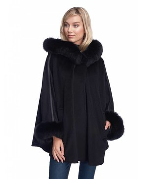 Dino Gaspari Angora cape with fox fur - Quebec Black