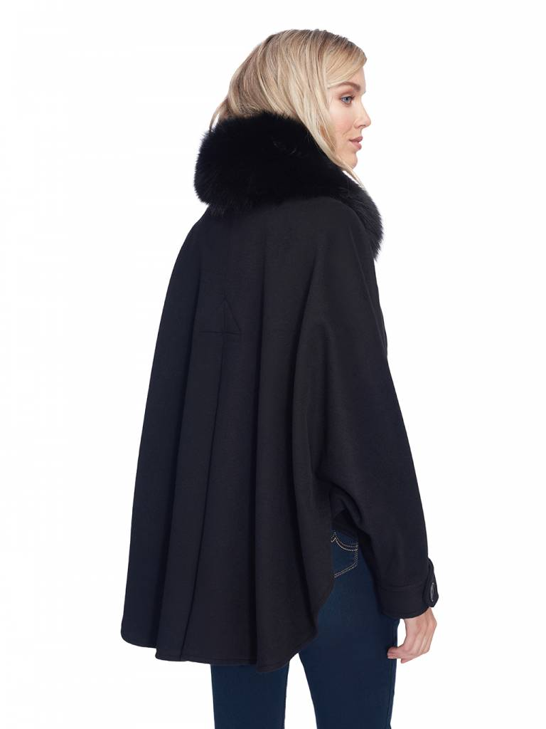 Dino Gaspari Cashmere cape with removable fox collar - Miami