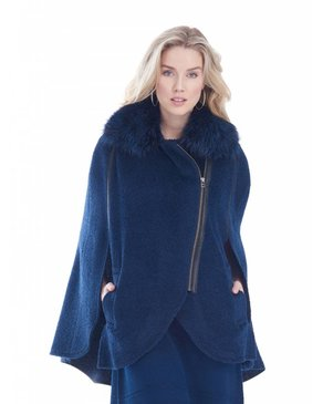 Dino Gaspari Cape mohair with fox collar - Montreal Blue