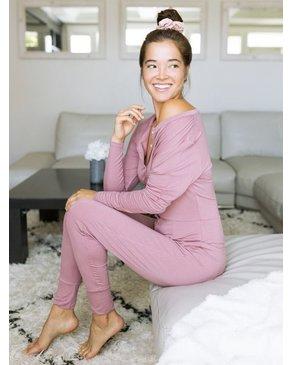 SLEEP by PRIV Pyjama une pièce Henley Vieux Rose