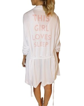 SLEEP by PRIV This Girl Loves Sleep Graphic Robe in White