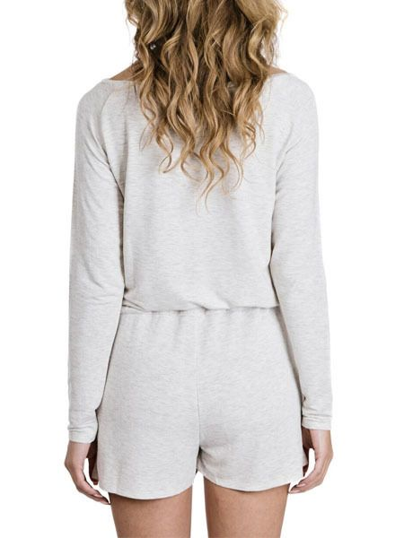 SLEEP by PRIV Social Long Sleeve Romper in Grey