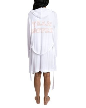 SLEEP by PRIV Team Coffee Hooded Robe in White/Peach Keen