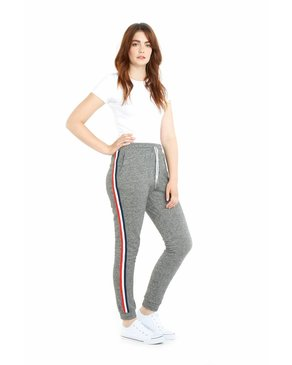 LAZYPANTS The Lucas Striped Jogger In Granite