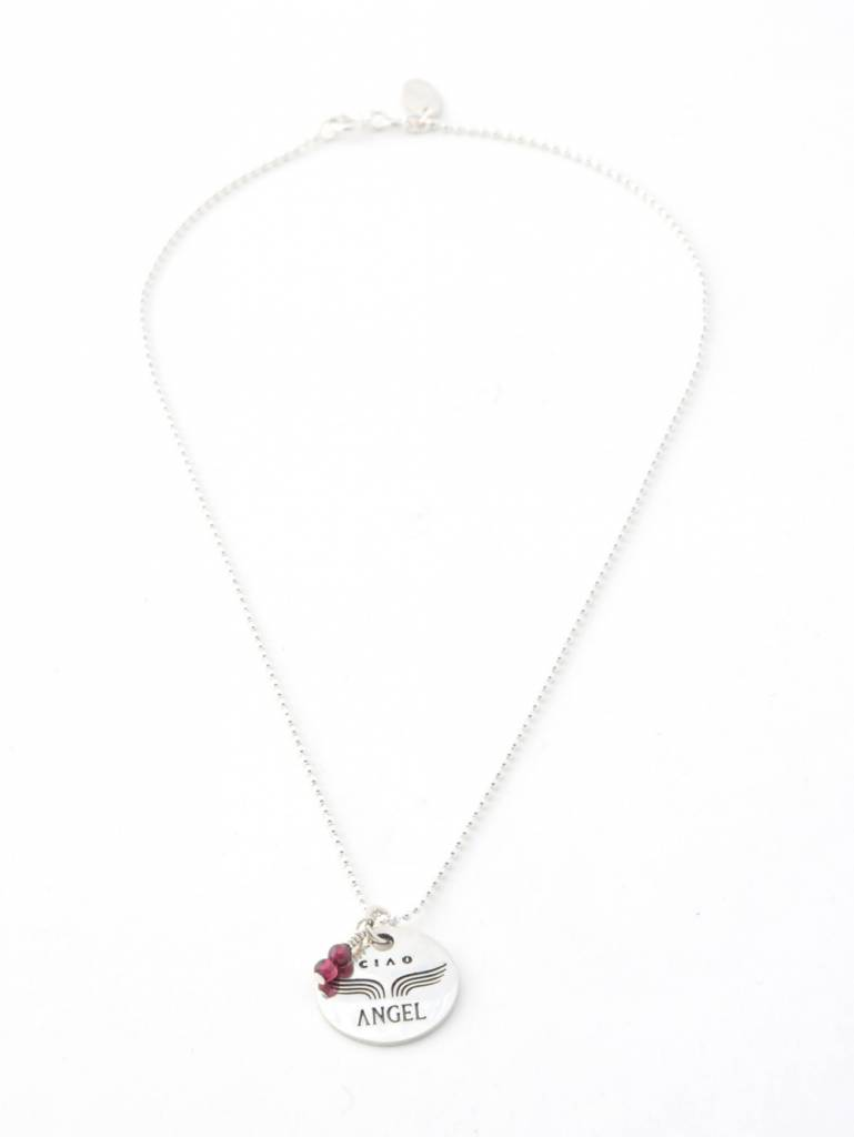 "Ciao Angel ""Merci Angel"" Medal Necklace"