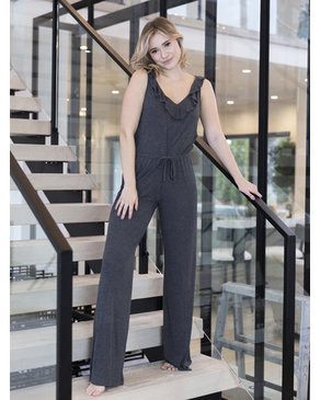 BASIC by PRIV Caress Jumpsuit In Heather Grey