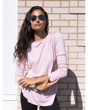 BASIC by PRIV Closer Ribbed Long Sleeve with Thumb Holes in Soft Rose