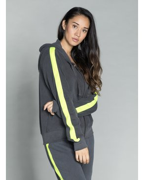 CHRLDR TUXEDO STRIPE — High-Low Zip-Up Hoodie