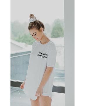 SLEEP by PRIV Allergic To Mornings PJ Set in White/Blush