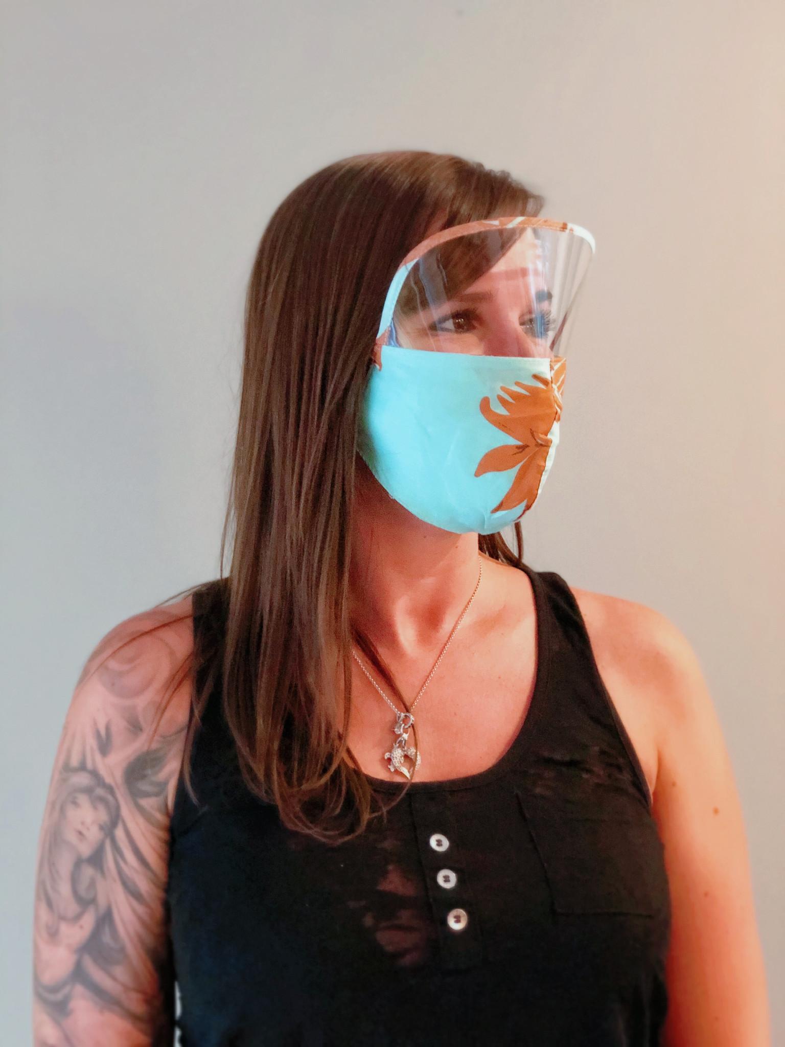 Boss Masks Adult Face Mask w/ Eye Shield X 5 (Hawaiian Theme)