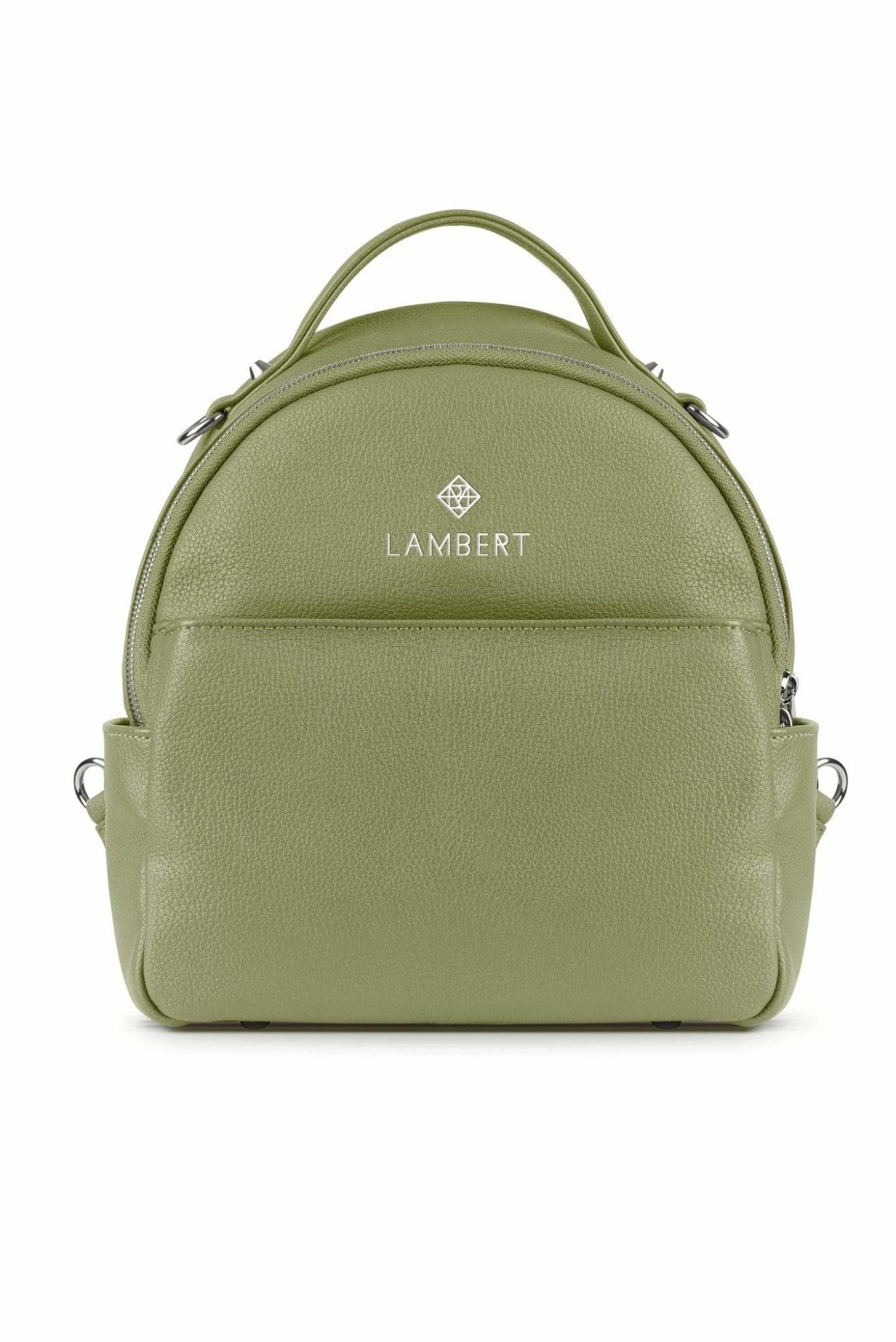 Lambert CHARLIE - Mini sac à dos en cuir vegan sage