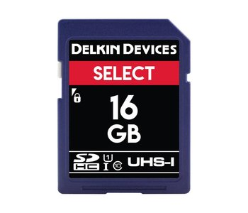 Delkin Devices Select 16GB UHS-I Class 10 U1 V10 SDHC 163x Memory Card *