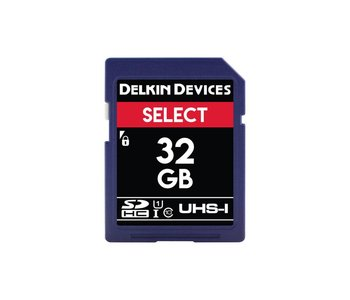 Delkin Devices Select 32GB UHS-I Class 10 U1 V10 SDHC 163x Memory Card *