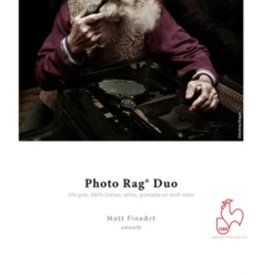"Hahnemuhle Hahnemuhle Photo Rag Duo, 100 % Rag, Bright White Matte Inkjet Paper, Coated 2 Sides, 276 g/mA, 13x19"", 25 Sheets"