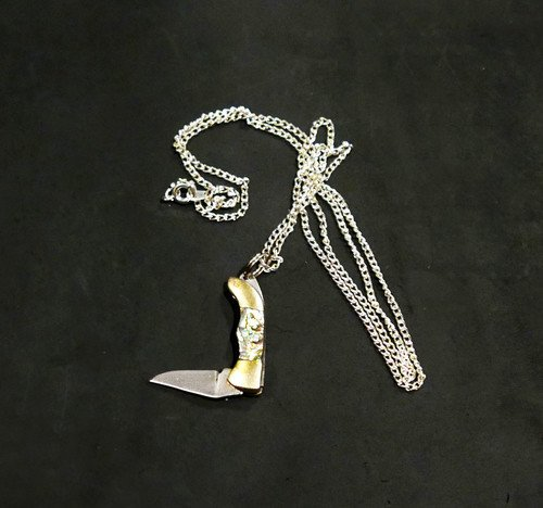 Iron and Glory Mother of Pearl Mini Pocketknife Pendant & Chain