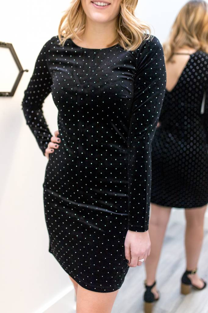 Stud Magnet Velvet Dress