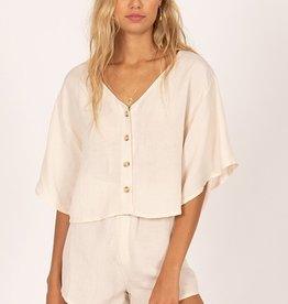 Bungalow Short Sleeve Woven Crop Top