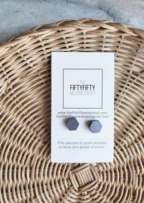 FF - Hexagon Dark Grey Concrete Earrings
