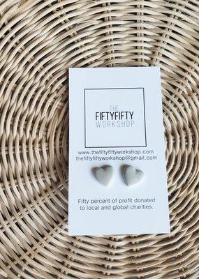 FF - Heart Light Grey Concrete Earrings