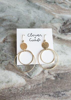 Clover + Coast Clover - Double Circle Brass Earrings