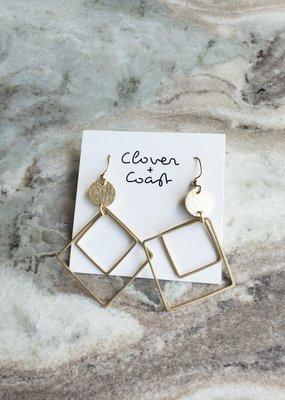 Clover + Coast Clover - Double Diamond Brass Earrings