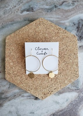 Clover + Coast Clover - Circle Hexagon Brass Earrings