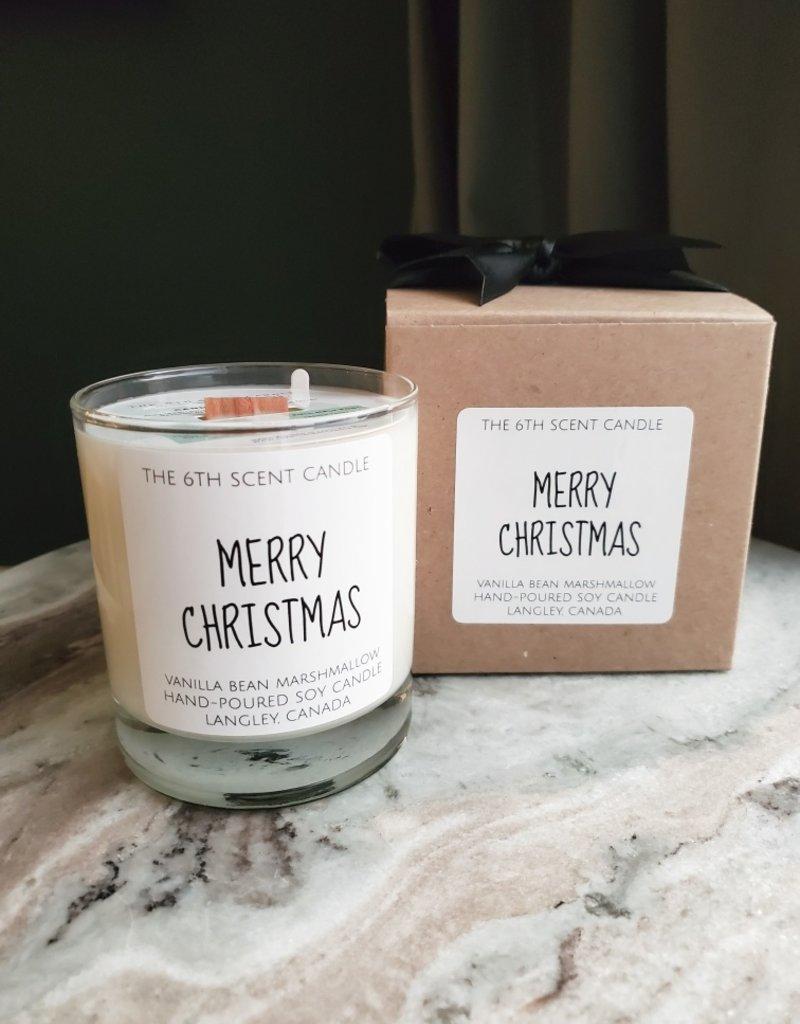 6S - Large Jar/Wood/Merry Christmas (Vanilla Bean Marshmallow)