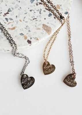 RC - Small Heart Charm with Mom & Florals