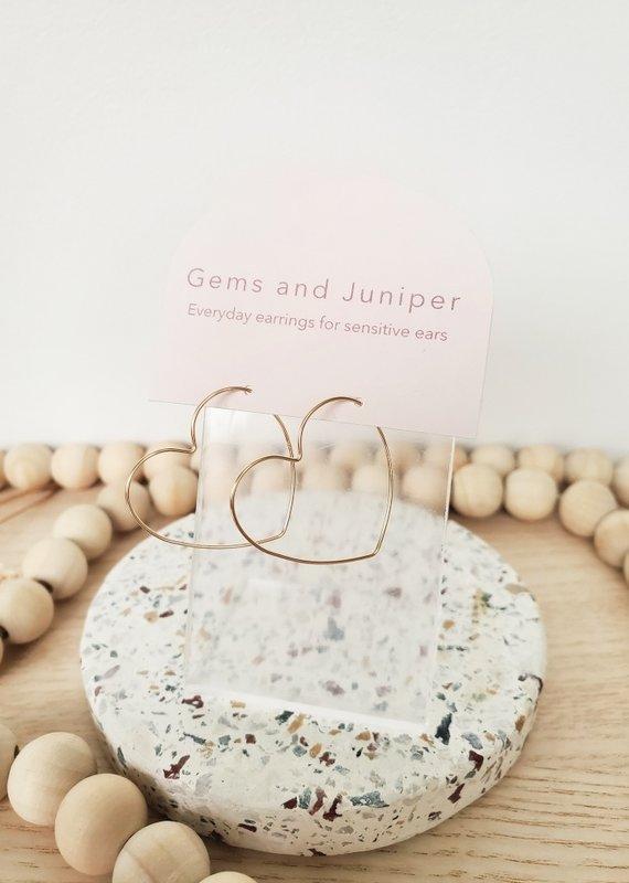 Gems & Juniper GJ - Gold Heart Hoops