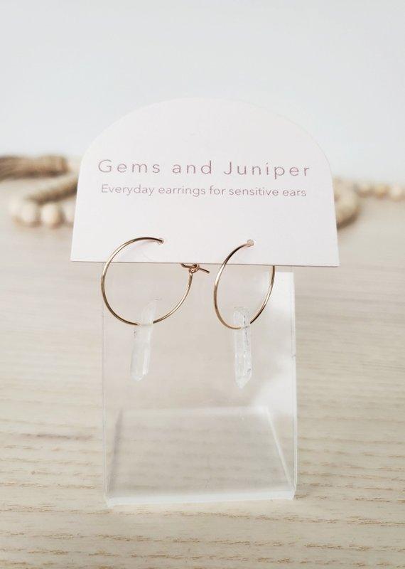 Gems & Juniper GJ - Hoops with Quarts