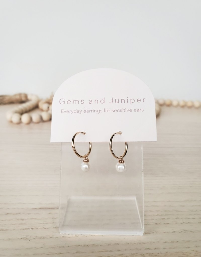 Gems & Juniper GJ - Gold Pearl Hoops