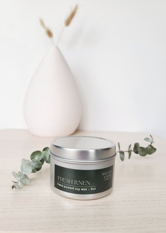 Balsam & Rose Candle Co BRC - Fresh Linen Tin Candle 4oz