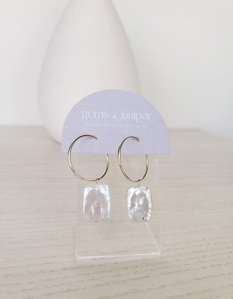 Gems & Juniper GJ - Square Pearl Hoops