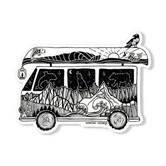 Mountain Mornings Camper Van Sticker